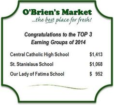 Congrats to our top O'Brien's Market groups! These top 2014 earners really took advantage of the great opportunity O'Brien's gives to their communities to help fund schools and non-profits.