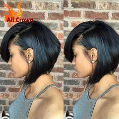 Pas cher Bob Cut Lumière Yaki de Cheveux Humains Perruque Full Lace Perruques de Cheveux Humains pour Noir Femmes 8a Vierge Brésilienne Full Lace Bob Perruque Avec Bébé cheveux, Acheter  Perruques de qualité directement des fournisseurs de Chine: