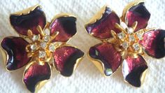 Vintage Enamel Burgundy Earrings with Clear by QVintage on Etsy, $25.00