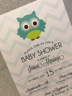 20 Boy Owl Baby Shower Invitation - Aqua Chevron #Unknown #BabyShower