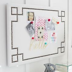 There has to be a way that I can DIY this pinboard.  It's just way out of my budget but it is very cute.  :)
