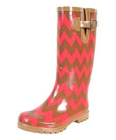 Love this Brown & Coral Zigzag Puddles Rain Boot by Nomad Footwear on #zulily! #zulilyfinds