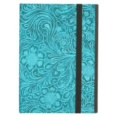Blue-Green fake l Leather Look Retro Floral Design iPad Cases