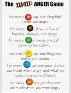 M&Ms Feelings Activity. Great for group counseling or a lesson on feelings. Keep positive! Can substitute Skittles as well (allergy-free) Feelings Games, Feelings Activities, Counseling Activities, Group Counseling, Anger Management Activities For Kids, Social Work Activities, Coping Skills Activities, Mindfulness Activities, Icebreakers For Kids