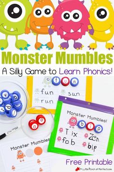 This Monster Mumbles Phonics Game and free printable makes learning phonics fun! The mumbling monsters work for teaching letter sounds and spelling words when your child is ready for CVC words. You're sure to get the giggles with some of the silly things these monsters say! #learning #printables #kindergarten #preschool #phonics #homeschool #activities Learning Phonics, Phonics Games, Literacy Activities, Teaching Reading, Kids Learning, Activities For Kids, Preschool Phonics, Preschool Ideas, Teaching Resources