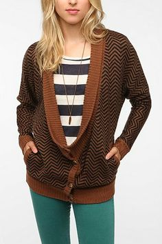 #UrbanOutfitters A+RO Drapey Double Breasted Cardigan