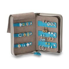 Reed & Barton Gray and Teal Faux Leather Personalized Travel Jewelry Organizer