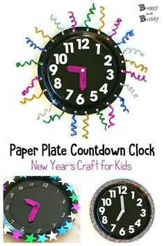 Paper Plate Countdown Clock: New Year's Eve craft for kids and math and time telling activity! New Year's Eve Crafts, Fun Crafts To Do, Easy Crafts For Kids, New Year's Eve Countdown, Countdown Clock, Math Games For Kids, Creative Activities For Kids, New Year's Eve Activities, Math Activities