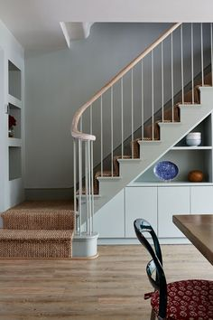 Lovely Modern Classic Staircase With Understairs Storage And Bookshelves
