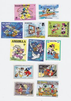Lot of 12 Mickey Mouse + Minnie Mouse Worldwide Disney Postage Stamps for Altered Arts Collage Destash