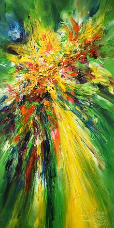 Green, abstract painting. Modern, green artwork by Peter Nottrott.