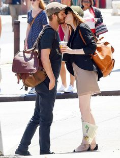 Bidding each other adieu: Andrew Garfield and Emma Stone parted ways with a sweet kiss while out in New York City on Monday -- Will Leather Goods #bag