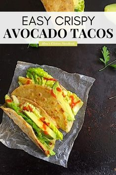 Crispy Avocado Tacos are a delicious study in texture: crispy corn tortillas with oozy melted cheese and creamy avocado, all finished with crunchy Romaine. #momskitchenhandbook #tacorecipes #healthytacos #avocadorecipes #weeknightdinner