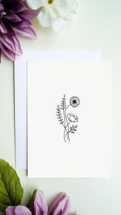 High quality printed flowers greeting card with blank inside for your greetings, congratulations and more. You will receive a white envelope for the greeting card. Bouqets, White Envelopes, Line Drawing, Flower Prints, Congratulations, Greeting Cards, Etsy, Drawings, Flowers