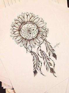 sunflower/dreamcatcher tat, love this. More