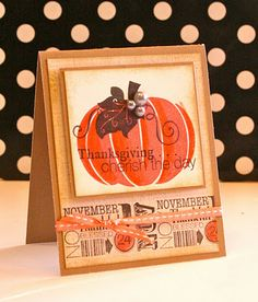 """I made this with the November 2011 Stamp of the Month (Cherish the Day) and the """"So Grateful"""" Stamp Set (B1395) along with some colored pencils. Colors: Smoothie, Bamboo, Black."""