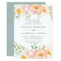 Airy Floral Wedding Invitation - spring wedding diy marriage customize personalize couple idea individuel
