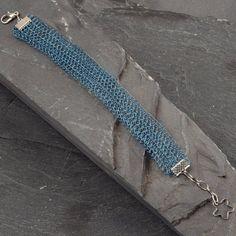 Cuff Bracelet  Teal Blue Wire Crochet Lacy by StudioDjewelry, $61.00