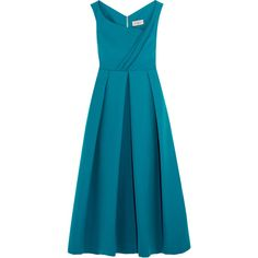 What's new (8,605 CNY) ❤ liked on Polyvore featuring blue midi dress, teal midi dress, stretch crepe dress, blue dress and teal green dress