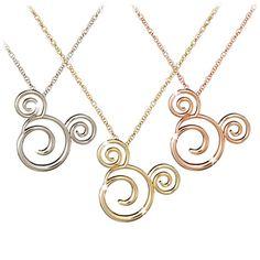 Gold Swirled Icon Mickey Mouse Necklace -- 14 Karat | Jewelry | Disney Store