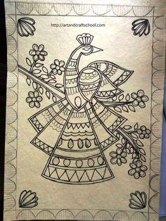 Madhubani peacock design - Art from my heart Gond Painting, Saree Painting, Kalamkari Painting, Tanjore Painting, Fabric Painting, Madhubani Paintings Peacock, Madhubani Art, Indian Art Paintings, Peacock Drawing