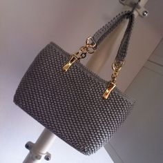 Navy Blue Grey Crochet Bag Gif