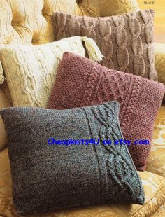 Pillow Cases in Hayfield Bonus Aran Tweed with Wool - Discover more Patter. Pillow Cases in Hayfield Bonus Aran Tweed with Wool - Discover more Patterns by Hayfield at LoveKnitting. The worl. Knitted Cushion Covers, Knitted Cushions, Knitted Blankets, Knitted Cushion Pattern, Knitting Patterns, Crochet Patterns, Knitting Ideas, Knit Pillow, Sweater Pillow
