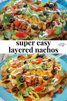 super easy layered nachos are a quick weeknight meal the entire family will love. Customize with toppings to suit your tastebuds! Mexican Dishes, Mexican Food Recipes, Beef Recipes, Cooking Recipes, Healthy Recipes, Healthy Nachos, Cheap Recipes, Microwave Recipes, Skillet Recipes