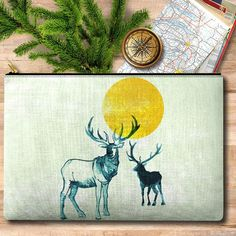 Elk and Moon pouches! Just in time for #fathersday - or maybe yourself? Art supplies pouch makeup maps or iPad. ---- #elk #animal #animals #animalart #forest #forestlife #hiker #camper #camping #giftsforhim #outdoors #outdoorlife #gifts #smallgift #giftideas #etsyshop #etsygifts