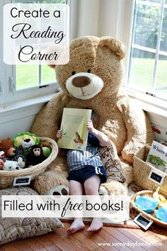 Create a reading corner for kids filled with free books! Love this idea for back to school. #ad