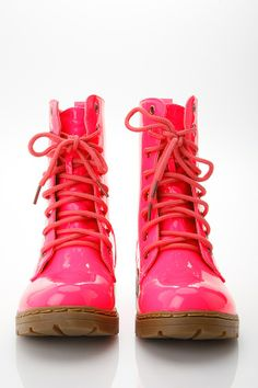 Glossy Pink Combat Boots