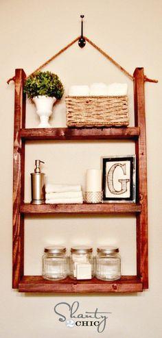DIY Hanging Bathroom Shelf For Only $10 - 109 Easy Ideas to Build DIY Shelves for Your Home Decor - DIY & Crafts