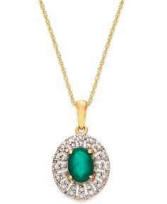 Emerald (9/10 ct. t.w.) and Diamond (1/8 ct. t.w.) Pendant Necklace in 14K Gold - Necklaces - Jewelry & Watches - Macy's