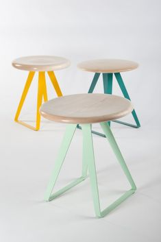 3 Turn stools, each piece of furniture is made in with sycamore in Cornwall; picture 1 of 11