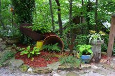 Plenty of Pots and Wheelbarrow Garden Idea