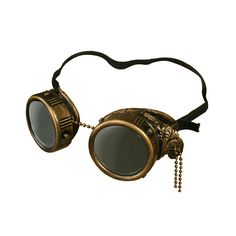 Handmade Steampunk Goggles | dotandbo.com Could try making some with plastic bottle tops and spray paint... chain from Home Depot or sone of those.... the back part could be old swimming goggles