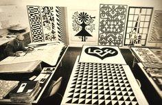 Alexander Girard (1907-1993) at Herman Miller, c. 1960's, hand drawing his designs.