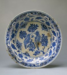 Dish  Iran, Second half of 15th century Faience; painted in cobalt. Diam. 44.4 cm  purchased from Hadji Hussain. 1938  Musée de l'hermitage