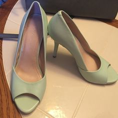 BCBG open toed mint green heels Worn once, in excellent condition. Like new. Make an offer BCBGeneration Shoes Heels