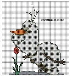 Olaf Frozen (Smell the Flowers) Frozen Cross Stitch, Cross Stitch For Kids, Cross Stitch Cards, Cross Stitch Baby, Cross Stitching, Disney Cross Stitch Patterns, Counted Cross Stitch Patterns, Cross Stitch Designs, Cross Stitch Embroidery