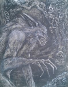 I was just in the mood to draw a cool, traditional werewolf creeping around in a haunted forest. Today is the August 2011 full moon, so I thought posting this classic beast would be appropriate. Apocalypse, Of Wolf And Man, Skin Walker, Myths & Monsters, Werewolf Art, Howl At The Moon, Vampires And Werewolves, Grey Art, Classic Monsters