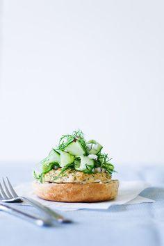 Salmon Bagel  with Cucumber Salad