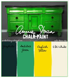 COLORWAYS Annie Sloan Chalk Paint custom color lime green. Graphite, Antibes Green, English Yellow, Old White