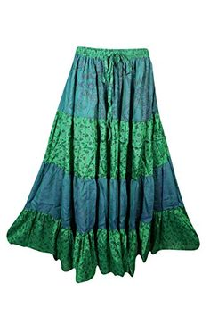 Mogul Womens Maxi Skirt Tiered Green Printed Indian Sari Long Skirts Image 1 of 2 Maxi Skirt Boho, Bohemian Skirt, Womens Maxi Skirts, Gypsy Skirt, Bohemian Fashion, Boho Chic, Long Skirts Images, Skirt Images, Hippie Skirts