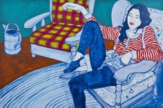 """HOPE GANGLOFF, """"Bananagrams Champion at Rest"""", 2009. Acrylic on canvas, 56"""" by 82 1/2""""."""