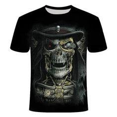 heavy Metal Skull Reaper T-Shirt | Skullflow Skull Shirts, 3d T Shirts, Metal Skull, Plus Size T Shirts, Skull Print, Summer Tshirts, Short Sleeve Tee, Casual Shirts, Sleeves