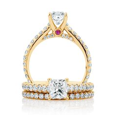 The Michael Hill Designer Bridal Collection   1 carat princess cut center diamond Aria ring