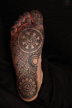 Grey Ink Asian Tattoo Under Foot