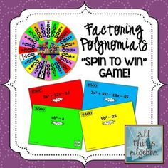 """Factoring Polynomial Expressions - """"Spin to Win"""" Game!"""