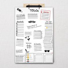"Handgezeichnete TODO-Liste ""Sketch"" DIN-A3   Fünf vor Zehn Todo List, Filofax, Money Management, Saving Tips, Etsy, Bullet Journal, Calendar, Notebook, Notes"